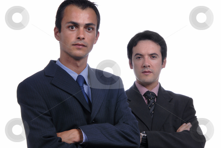 Stand stock photo, Two young business men portrait on white. focus on the left man by Rui Vale de Sousa