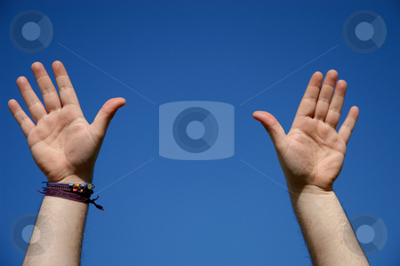 Signs stock photo, Hands in the blue sky by Rui Vale de Sousa