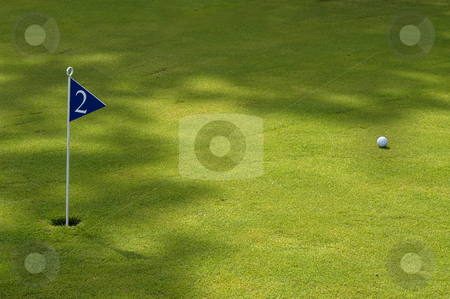 Golf stock photo, Ball and flag in a green golf field by Rui Vale de Sousa
