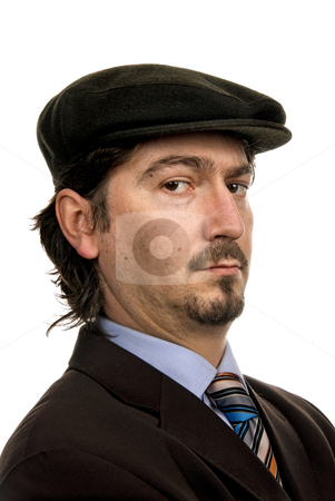 Portrait stock photo, Young man portrait with a hat isolated on white by Rui Vale de Sousa
