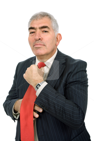 Adjusting stock photo, Business man adjusting his tie isolated on white by Rui Vale de Sousa
