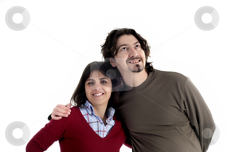 Casual stock photo, Young casual couple isolated on white background by Rui Vale de Sousa
