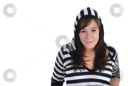 Portrait of girl with sweatshirt stock photo, Happy young casul woman in a white background by Rui Vale de Sousa