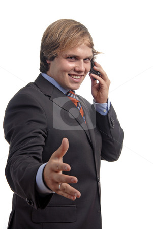 Call stock photo, Young business man on the phone, isolated by Rui Vale de Sousa