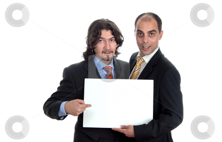 Card stock photo, Two business men with an empty card by Rui Vale de Sousa
