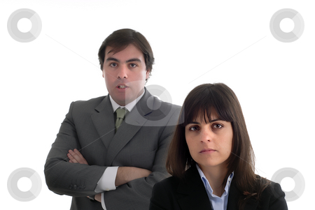 Couple stock photo, Business couple portrait isolated on white, focus on the woman by Rui Vale de Sousa