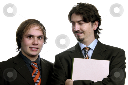 Businessmen stock photo, Two young business men portrait isolated on white by Rui Vale de Sousa