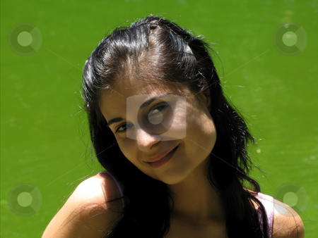 Brunette woman stock photo, Young happy woman close up portrait, outdoor picture by Rui Vale de Sousa