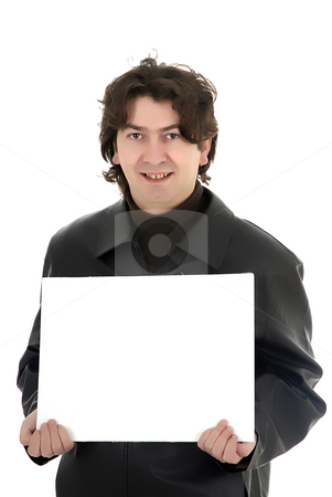 Card stock photo, Man with a white card in a white background by Rui Vale de Sousa