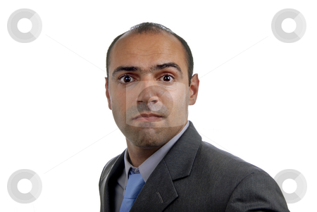 Silly stock photo, Young business man portrait in a white background by Rui Vale de Sousa