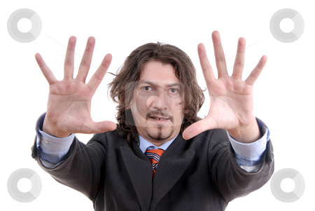 Hands stock photo, Man with hands open isolated on white by Rui Vale de Sousa