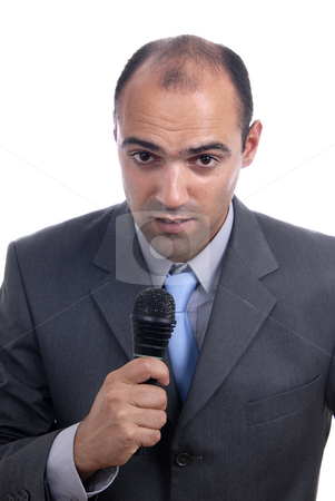 Microphone stock photo, Young business man talking on a microphone by Rui Vale de Sousa