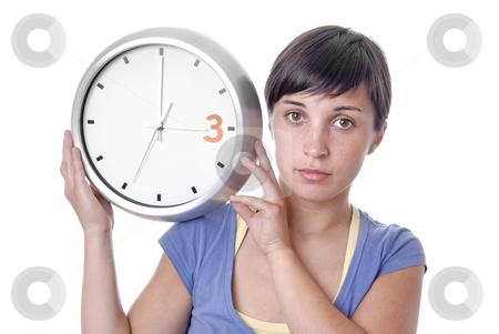 Clock stock photo, Caucasian young woman holding a big clock by Rui Vale de Sousa