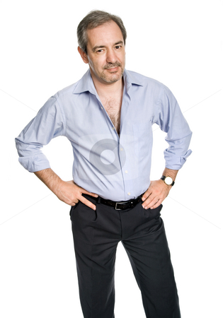Casual man stock photo, Mature casual man portrait, isolated on white by Rui Vale de Sousa