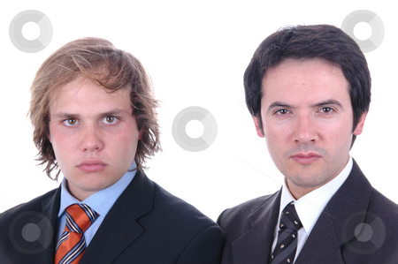 Two stock photo, Two young business men portrait on white. by Rui Vale de Sousa