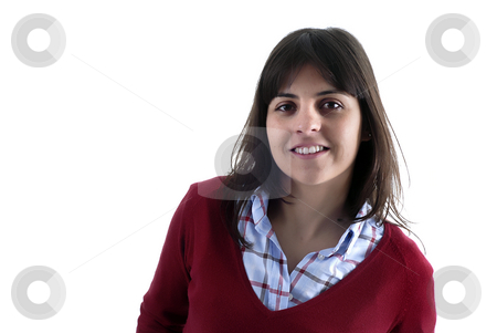 Brunette stock photo, Young casual woman portrait in a white background by Rui Vale de Sousa
