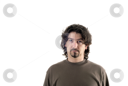 Man stock photo, Young man portrait in a white background by Rui Vale de Sousa