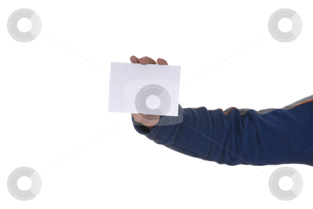 Card stock photo, Young man's hand showing a white card by Rui Vale de Sousa