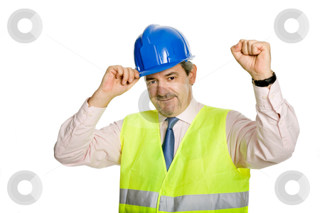 Winner stock photo, An engineer with blue hat, isolated on white by Rui Vale de Sousa