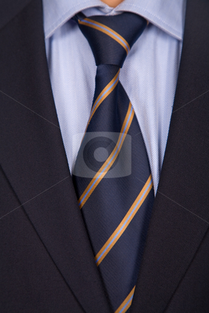 Man suit stock photo, Detail of a business man suit with blue tie by Rui Vale de Sousa
