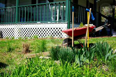 Gardening stock photo, Wheelbarrow and shovels ready to go to work in the flower garden by Sandra Fann