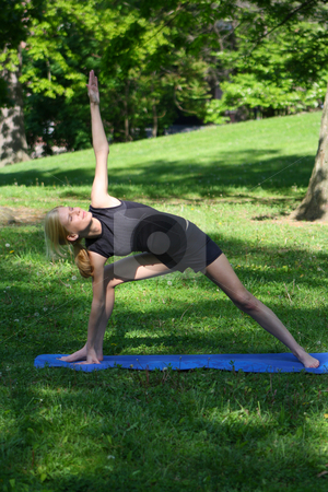 Outdoor Yoga stock photo, Emily enjoying Yoga in the park. by Chris Torres