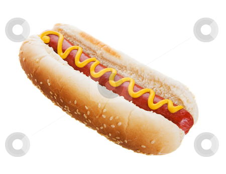 Hot dog stock photo, American hot dog on a white background by Steve Mcsweeny
