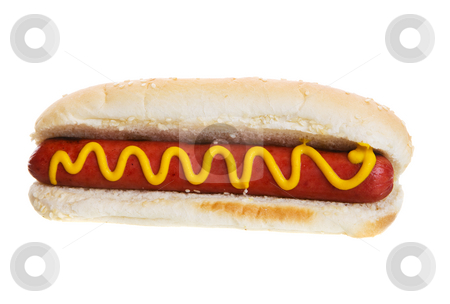 Isolated hot dog stock photo, American hot dog on a white background by Steve Mcsweeny