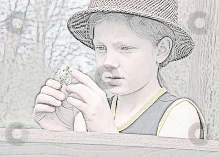 Little Girl Looking at Flowers Watercolor Sketch stock photo, This watercolor look sketch is a little girl wearing a straw hat and closely examining some flowers. by Valerie Garner