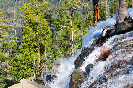 Eagle Falls Lake Tahoe stock photo, Top of Eagle Falls waterfall over looking Emerald Bay at Lake Tahoe California by Lynn Bendickson