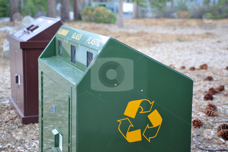 Bear Proof Recycle Container stock photo, Animal resistant recycleing can helping to keep the environment  clean and garbage free. by Lynn Bendickson