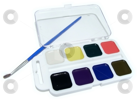 Aquarelle with paintbrush stock photo, The multicolored aquarelle with one paintbrush by Sergej Razvodovskij