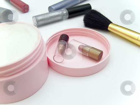 Cosmetic widgets stock photo, Different cosmetic widgets against the white background by Sergej Razvodovskij