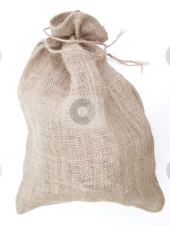 Linen sack stock photo, Close beige linen sack with the braids by Sergej Razvodovskij