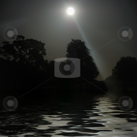 Full Moon Shining Above Water stock photo, Full Moon shining above tree silhouettes and water. by Denis Radovanovic