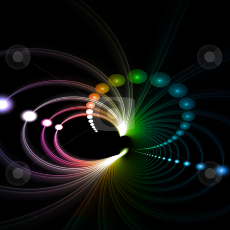 Funky Rainbow Fractal stock photo, An abstract fractal vortex background with plenty of copyspace.  Add this colorful and stylish texture to any design. by Todd Arena