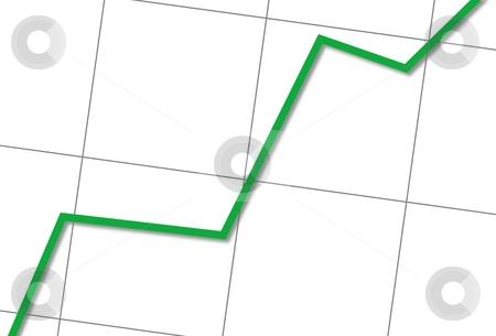 Statistic Up stock photo, White chart with a green line going up. by Henrik Lehnerer