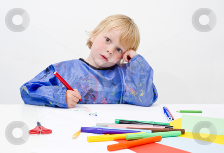 Creative block stock photo, A young artist enduring a creative block by Corepics VOF