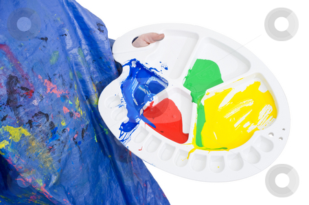 Painters Palette stock photo, Young child holding a painters palette with acrylic paint in primary colors by Corepics VOF