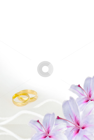 Wedding invitation stock photo, Wedding invitation or greeting card blank with lily flowers and golden rings by Desislava Dimitrova