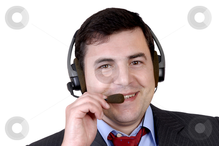 Call stock photo, Young call center man talkind by the phone by Rui Vale de Sousa