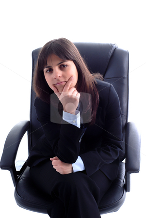 Seat stock photo, Young business woman portrait in white background by Rui Vale de Sousa
