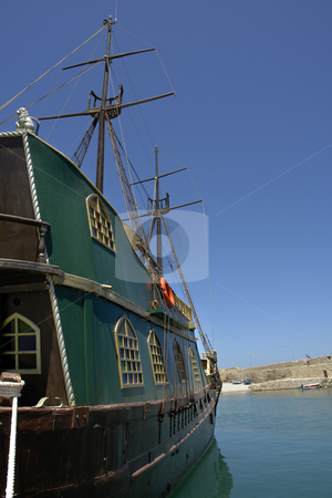 Pirate stock photo, Pirate boat, attraction of rethymno in crete island, greece by Rui Vale de Sousa