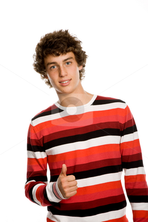 Thumb up stock photo, Casual young man portrait, isolated on white by Rui Vale de Sousa