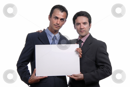 Empty card stock photo, Two business men with an empty card by Rui Vale de Sousa
