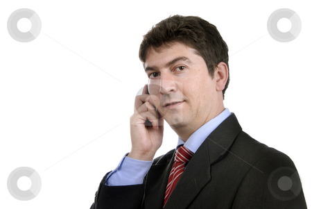 Call stock photo, Business man on the phone in white background by Rui Vale de Sousa
