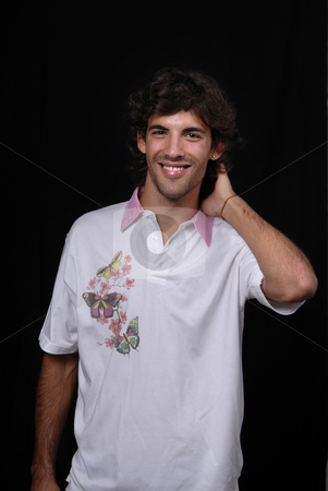 Casual stock photo, Casual young man portrait isolated on black background by Rui Vale de Sousa