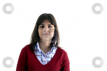 Girl stock photo, Young casual woman portrait in a white background by Rui Vale de Sousa