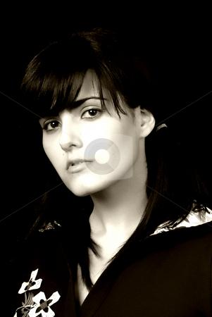 Brunette stock photo, Young beautiful brunette portrait toned, some grain filter by Rui Vale de Sousa