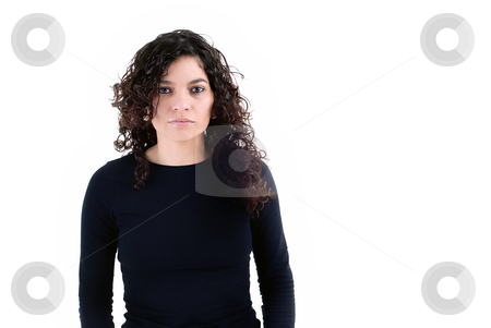 Portrait stock photo, Portrait of young brunette woman isolated on white by Rui Vale de Sousa